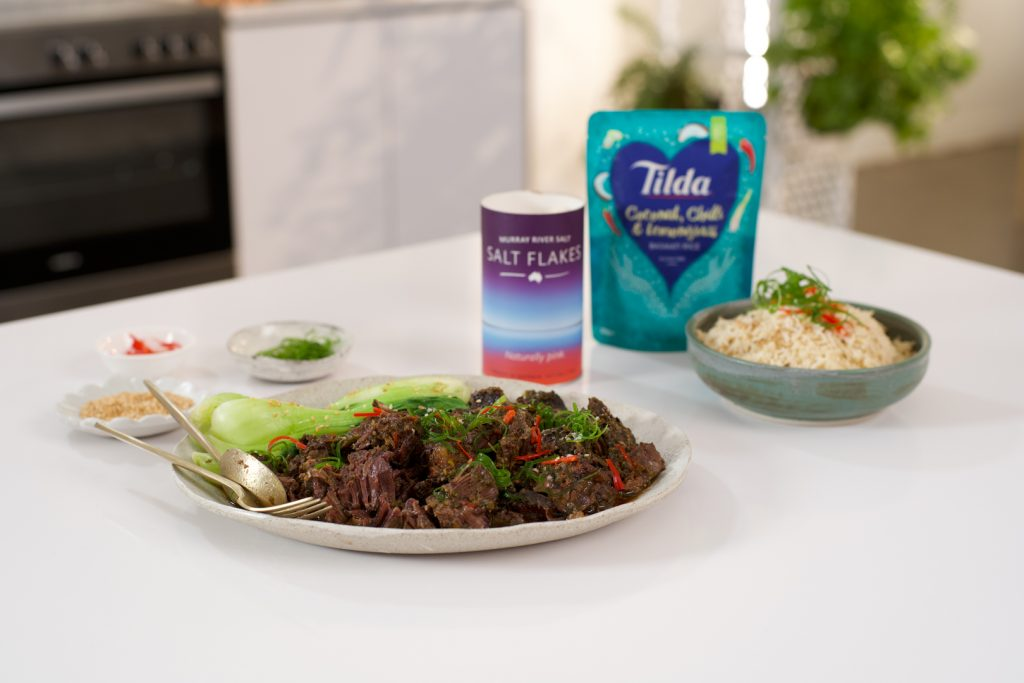Asian Style Beef Cheeks seasoned with Murray River Salt and served on Tilda Rice