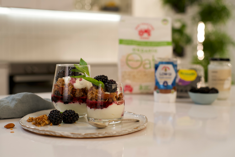 Super Crunchy Coconut Granola with Blackberry Swirl