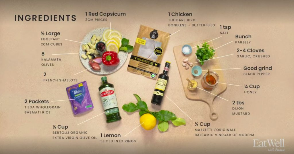 Ingredients to make Balsamic Baked Butterflied Chicken, with Wholegrain Rice